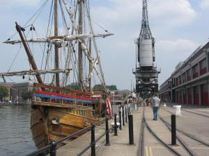 The Matthew at Bristol Docks - credited by me, right before I fell over the tracks...